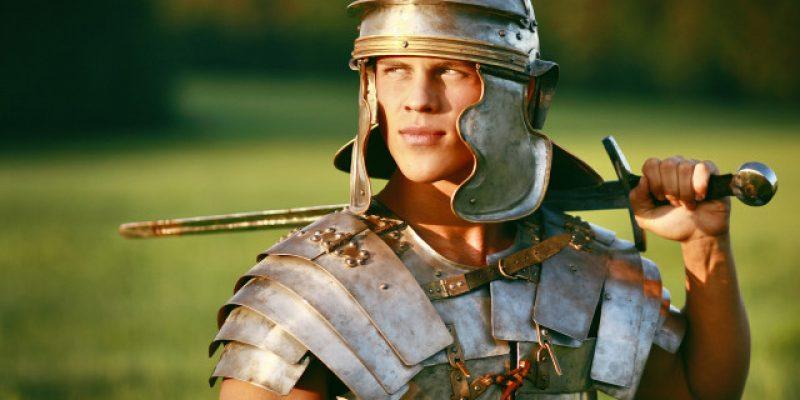 One Brave Roman soldier in field. Photo.
